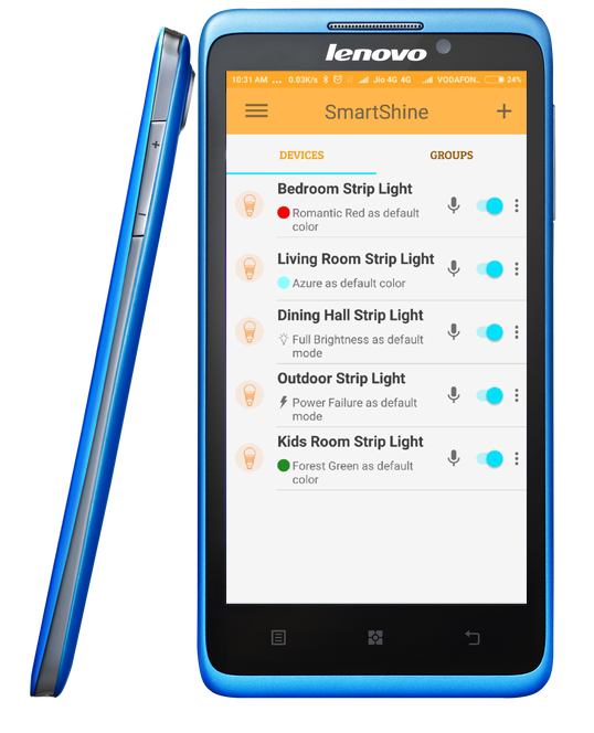 A screenshot of Mansaa SmartShine app using strip light